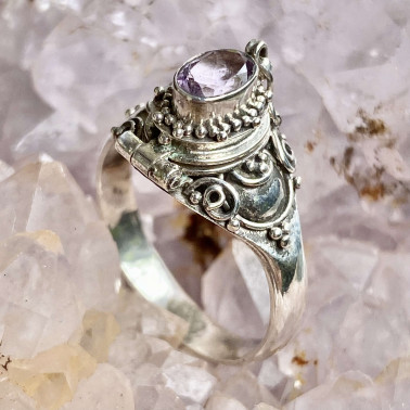 RR 01072 AM-(HANDMADE 925 BALI STERLING SILVER POISON RING WITH AMETHYST)