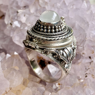 RR 01096 MS-(HANDMADE 925 BALI STERLING SILVER POISON RING WITH TURQUOISE)