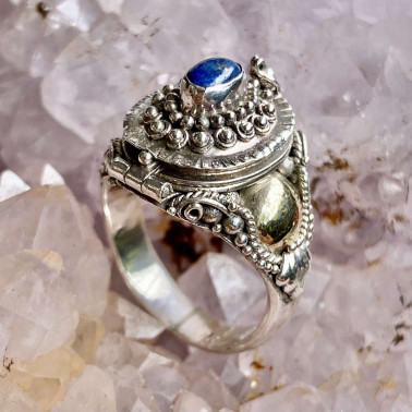 RR 01102 LP-(HANDMADE 925 BALI STERLING SILVER POISON RING WITH LAPIS)