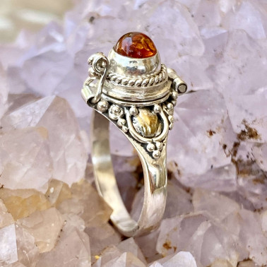 RR 01980 AR-(HANDMADE 925 BALI STERLING SILVER POISON RING WITH AMBER)