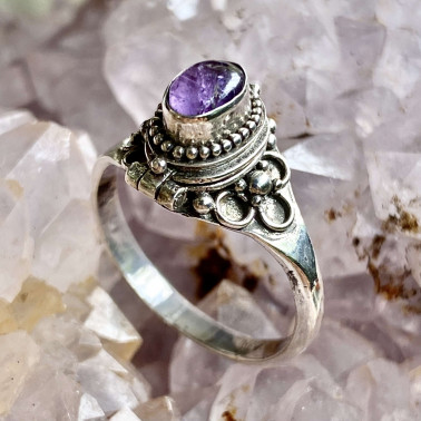 RR 01985 AM-(HANDMADE 925 BALI STERLING SILVER POISON RING WITH AMETHYST)