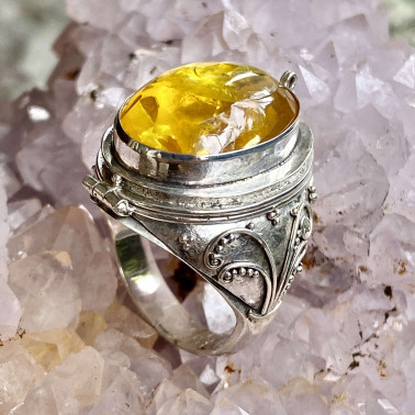 RR 02012 AR-(HANDMADE 925 BALI STERLING SILVER POISON RING WITH AMBER)