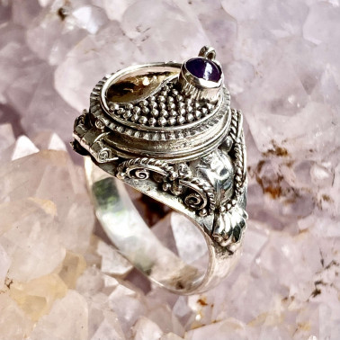 RR 02058 AM-(HANDMADE 925 BALI STERLING SILVER POISON RING WITH AMETHYST)