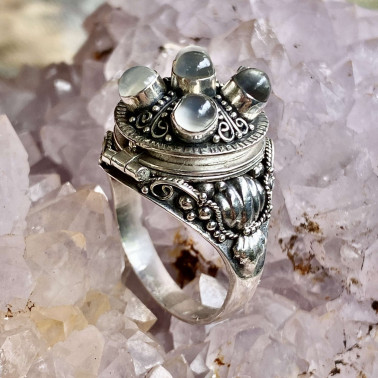 RR 02500 MS-(HANDMADE 925 BALI STERLING SILVER POISON RING WITH MOONSTONE)