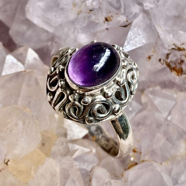 RR 03453 AM-(HANDMADE 925 BALI STERLING SILVER RING WITH AMETHYST)