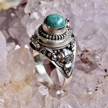 RR 03534 TQ-(HANDMADE 925 BALI STERLING SILVER POISON RING WITH TURQUOISE)