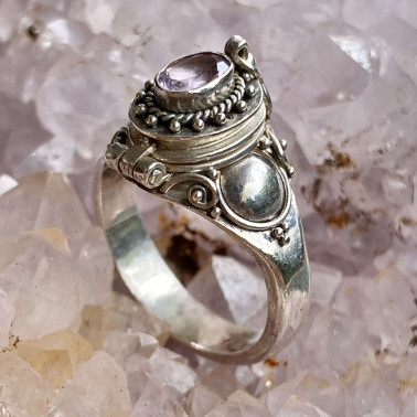 RR 04200 AM-(HANDMADE 925 BALI STERLING SILVER POISON RING WITH AMETHYST)