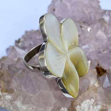 RR 06165 MP-(HANDMADE 925 BALI SILVER RING WITH MOTHER OF PEARL))