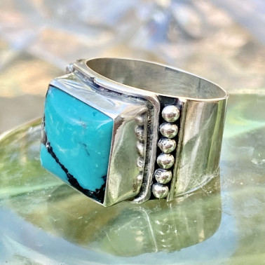 RR 11752 TQ-(HANDMADE 925 BALI STERLING SILVER RING WITH TURQOUISE)