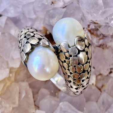 RR 12508 PL-(HANDMADE 925 BALI STERLING SILVER RING WITH PEARL)