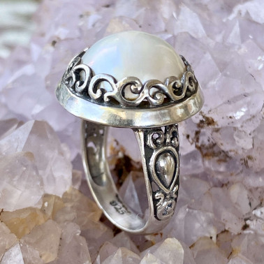 RR 12683 B-PL-(HANDMADE 925 BALI STERLING SILVER RING WITH MABE PEARL)