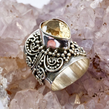 RR 12852 CT-(HANDMADE 925 BALI SILVER FILIGREE RING WITH CITRINE)