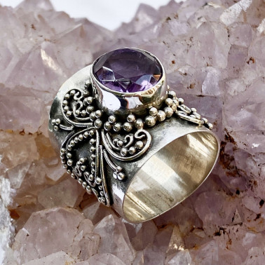 RR 12853 AM-(HANDMADE 925 BALI SILVER FILIGREE  RING WITH AMETHYST)