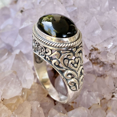 RR 13043 OX-(HANDMADE 925 BALI STERLING SILVER RING WITH ONYX)