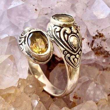 RR 14203 CT-(HANDMADE 925 BALI STERLING SILVER RING WITH CITRINE)