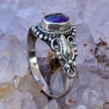 RR 13222 AM-(HANDMADE 925 BALI STERLING SILVER RING WITH AMETHYST)