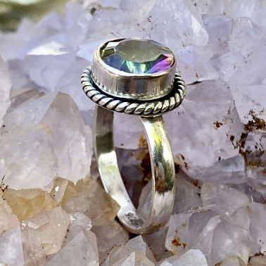 RR 13233 MT-(HANDMADE 925 BALI STERLING SILVER RING WITH MYSTIC TOPAZ)