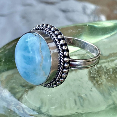 RR 13749 B-LR-(HANDMADE 925 BALI STERLING SILVER RING WITH LARIMAR)