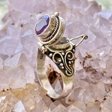RR 13763 AM-(HANDMADE 925 BALI STERLING SILVER POISON RING WITH AMETHYST)