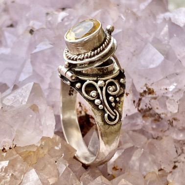 RR 13763 CT-(HANDMADE 925 BALI STERLING SILVER POISON RING WITH CITRINE)