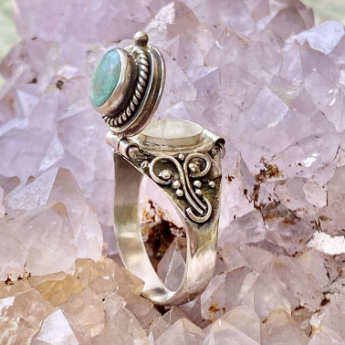 RR 13763 TQ-(HANDMADE 925 BALI STERLING SILVER POISON RING WITH TURQOUISE)