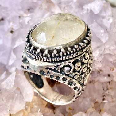 RR 13769 RT-(HANDMADE 925 BALI STERLING SILVER RING WITH RUTILITE)