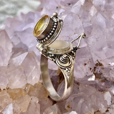 RR 13780 CT-(HANDMADE 925 BALI STERLING SILVER POISON RING WITH CITRINE)