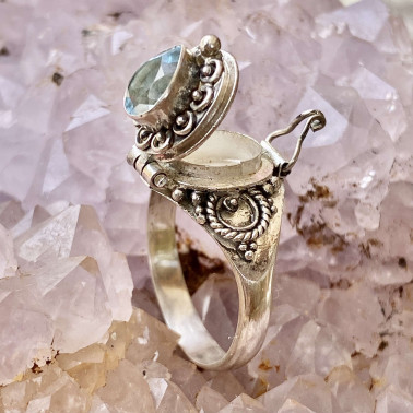 RR 13782 BT-(HANDMADE 925 BALI STERLING SILVER POISON RING WITH BLUE TOPAZ)