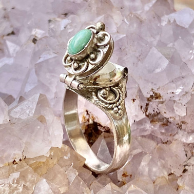 RR 13782 TQ-(HANDMADE 925 BALI STERLING SILVER POISON RING WITH TURQOUISE)