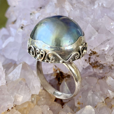 RR 13895 PPL-(HANDMADE 925 BALI STERLING SILVER RING WITH BLUE MABE PEARL)