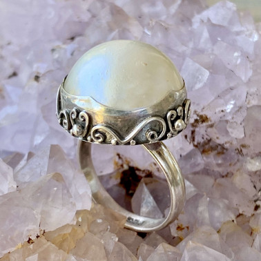 RR 13895 WPL-(HANDMADE 925 BALI STERLING SILVER RING WITH MABE PEARL)