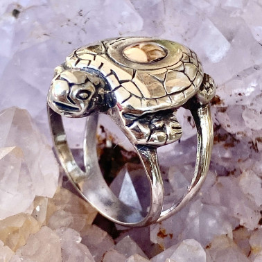 RR 13976-(HANDMADE 925 BALI SILVER TURTLE RINGS WITH 18KT GOLD ACCENT)