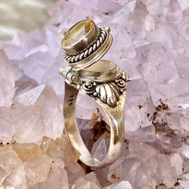 RR 14187 CT-(HANDMADE 925 BALI STERLING SILVER POISON RING WITH CITRINE)