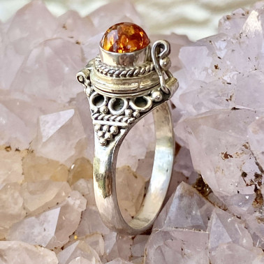 RR 14188 AR-(HANDMADE 925 BALI STERLING SILVER POISON RING WITH AMBER)