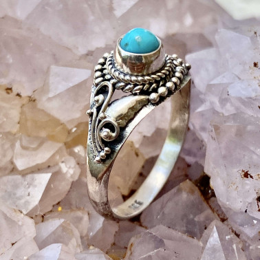 RR 14190 TQ-(HANDMADE 925 BALI STERLING SILVER RING WITH TURQUOISE)