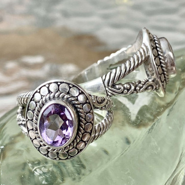 RR 14302 AM-(HANDMADE 925 BALI STERLING SILVER RING WITH AMETHYST)