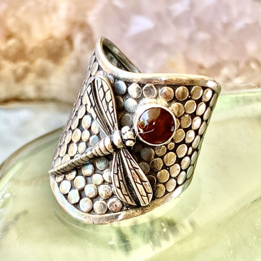 RR 14667 B-AR-(HANDMADE 925 BALI STERLING SILVER DRAGONFLY RING WITH AMBER)