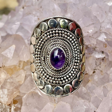 RR 14807 AM-(HANDMADE 92 BALI STERLING SILVER RINGS WITH AMETHYST)