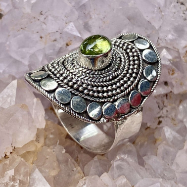 RR 14807 PD-(HANDMADE 92 BALI STERLING SILVER RINGS WITH PERIDOT)