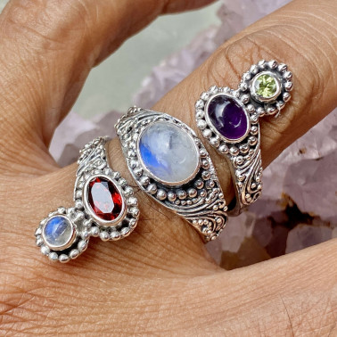 RR 14808 MIX-(HANDMADE 92 BALI STERLING SILVER RINGS WITH MIX STONES)