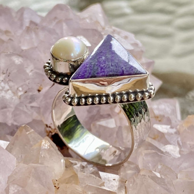 RR 14846-(HANDMADE 925 BALI SILVER RINGS WITH PEARL)