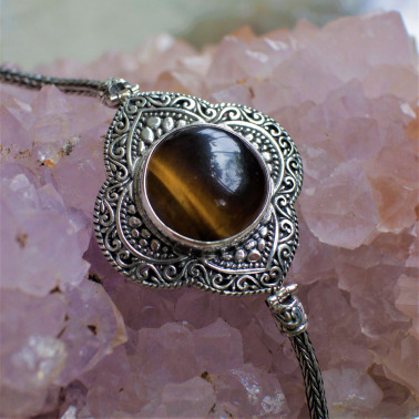BR 14864 TE-(HANDMADE 925 BALI SILVER CHAIN BRACELET WITH TIGER EYE)