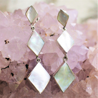 ER 14623 B-MP-(HANDMADE BALI 925 STERLING SILVER EARRINGS WITH MOTHER OF PEARL)