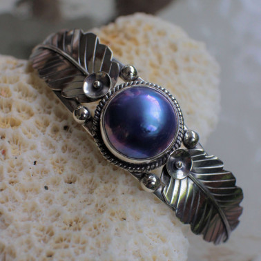 BR 14856 BMP-(HANDMADE 925 BALI SILVER CUFF BRACELET WITH BLUE MABE PEARL)